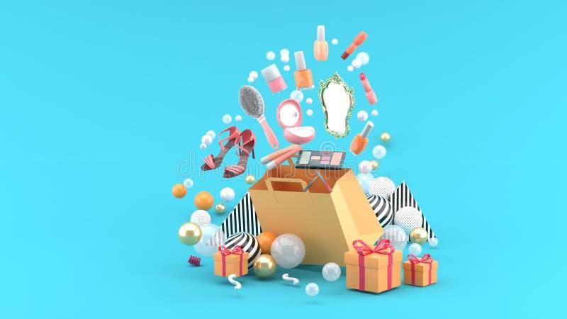 Косметики и ботинки высоких пяток плавают из сумки между красочными шариками на голубой предпосылке бесплатная иллюстрация