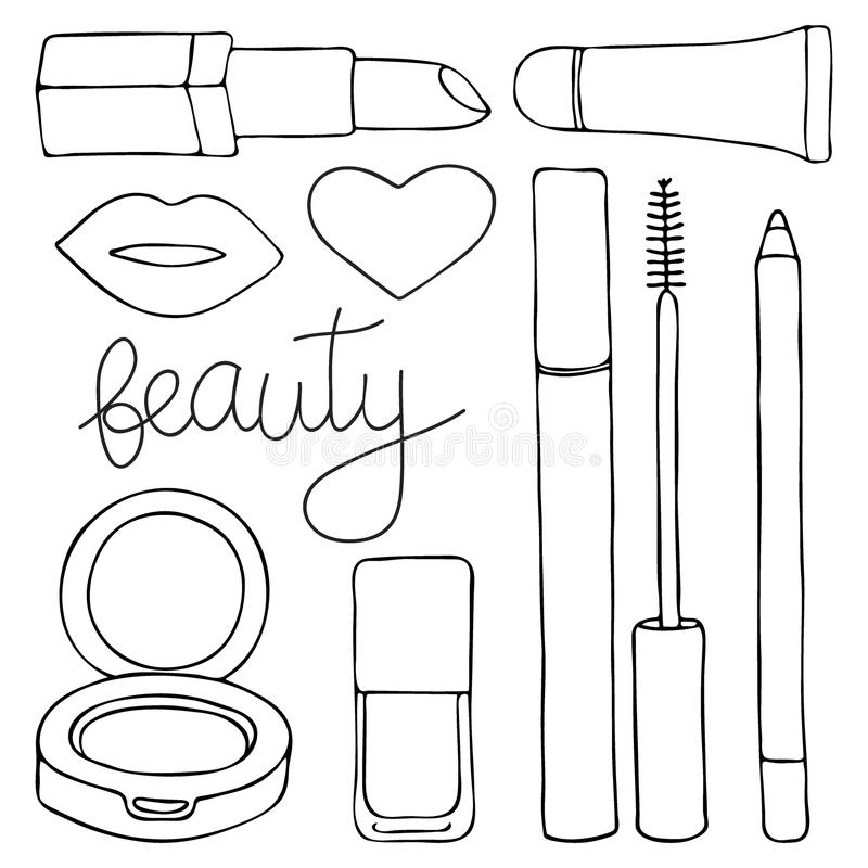 Косметики или составляют комплект Нарисованное вручную собрание косметических продуктов - лоск шаржа губы, губная помада, тушь, к бесплатная иллюстрация