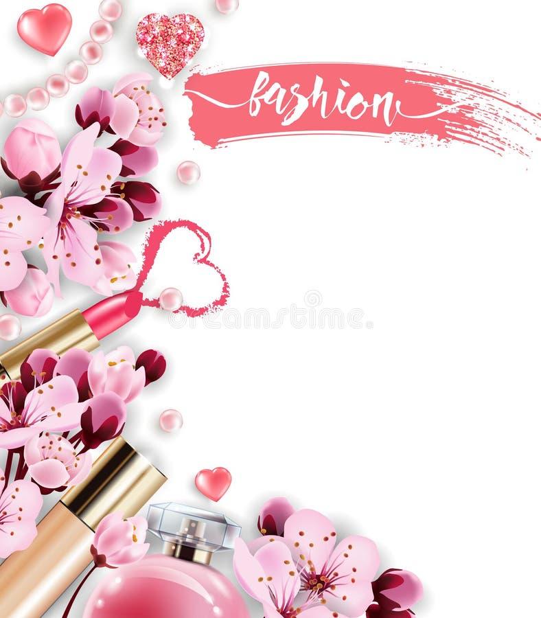 Косметики и предпосылка моды с составляют объекты художника: дух, розовый жемчуг отбортовывает, сверкная сердца учредительство иллюстрация вектора