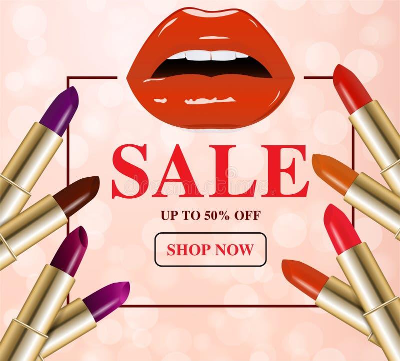 Косметики и продажа продуктов макияжа бесплатная иллюстрация