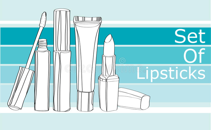 Косметики серии для губ бесплатная иллюстрация
