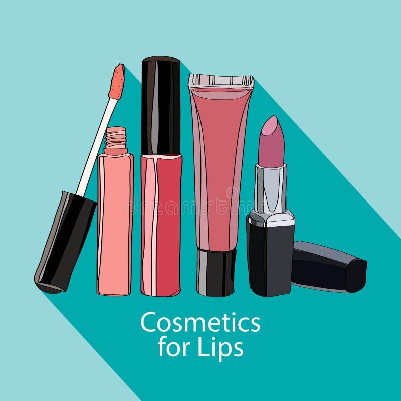 Косметики для губ - некоторые лоск и губная помада губы бесплатная иллюстрация