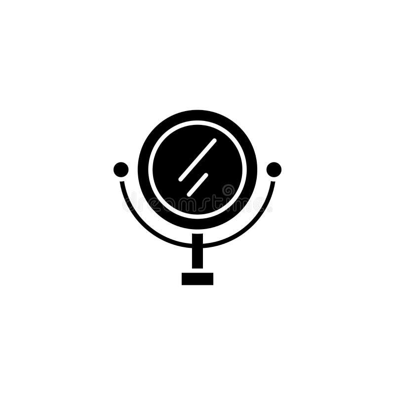 Косметическая концепция значка черноты зеркала Символ вектора косметического зеркала плоский, знак, иллюстрация бесплатная иллюстрация