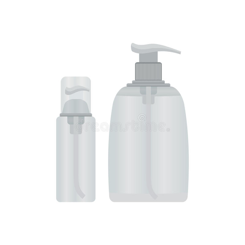 Косметическая пластичная бутылка с насосом распределителя, жидкостной концепцией контейнера иллюстрация штока