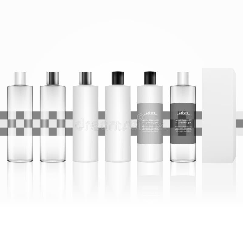 Косметическая пластичная изолированная бутылка Бутылки заботы кожи для геля, жидкости, лосьона, сливк, шампуня, пены ванны Продук иллюстрация штока