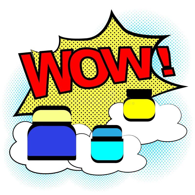 Косметическая сливк в шуточном стиле мультфильма Пузырь речи Взрыв и полутоновое изображение ВАУ r иллюстрация вектора