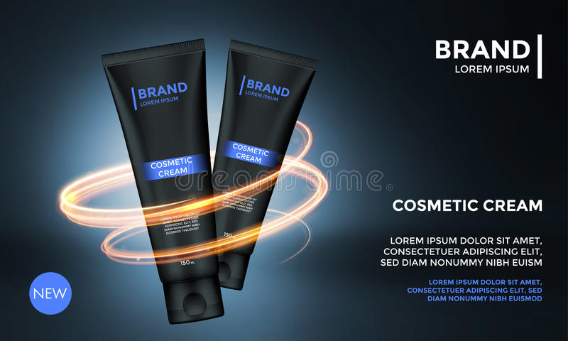 Косметический плакат роскоши шаблона продукта сливк заботы кожи шаблона вектора рекламы пакета иллюстрация штока