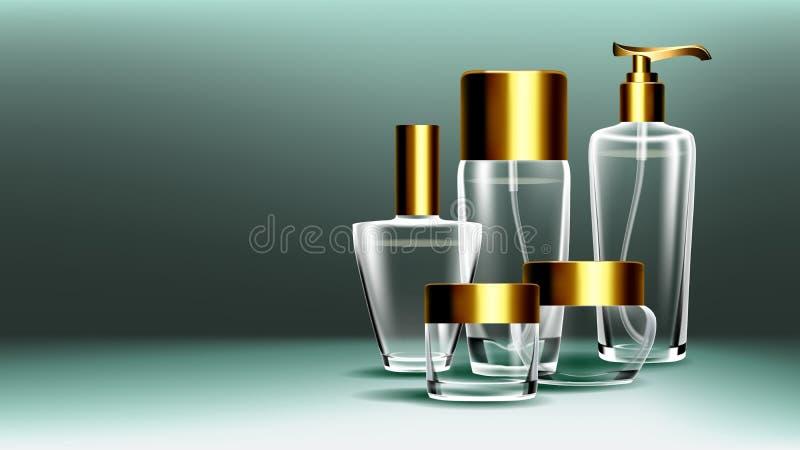 Косметический стеклянный вектор знамени Бутылка Наградной опарник Духи, суть 3D изолировало прозрачный реалистический шаблон моде иллюстрация вектора