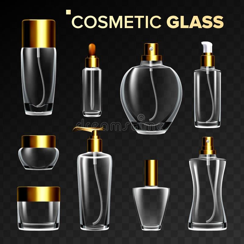 Косметический стеклянный установленный вектор Пустая стеклянная бутылка, трубка, коробка, пакет опарника Продукт красоты Skincare иллюстрация вектора