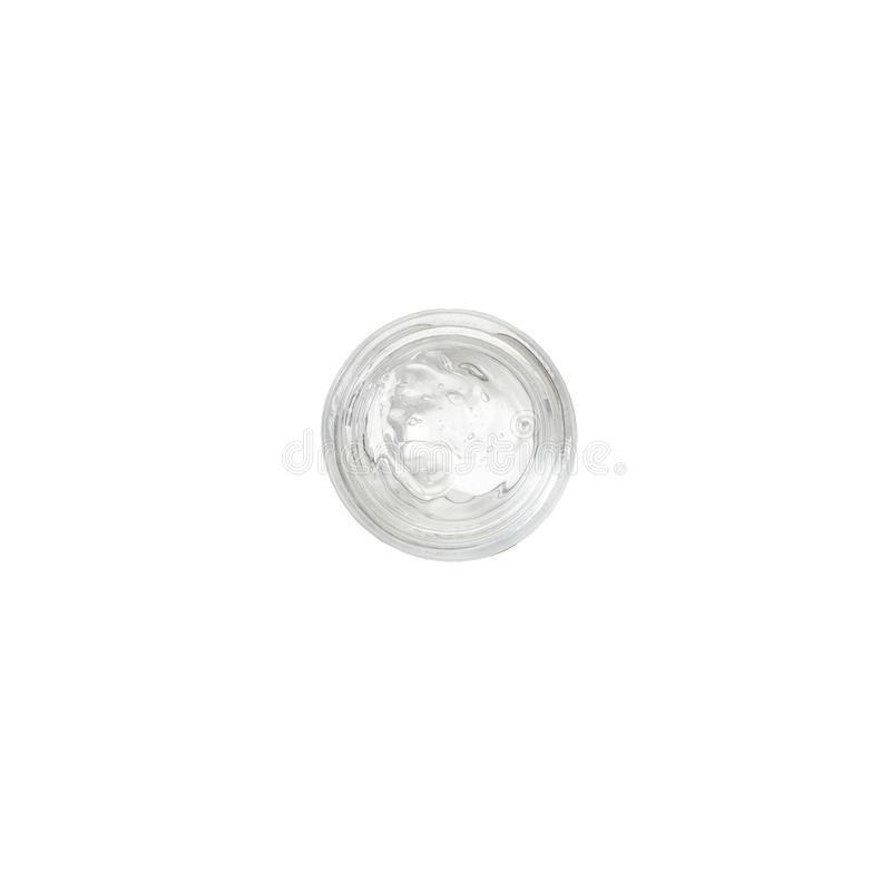 Косметический moisturizing гель в стеклянном опарнике Органические естественные косметики Гель выдержки улитки Шлам улитки Гель v стоковое изображение rf