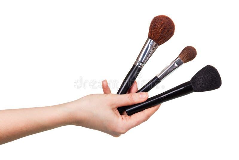 3 косметических щетки в женском конце-вверх руки изолированной на белизне стоковые изображения