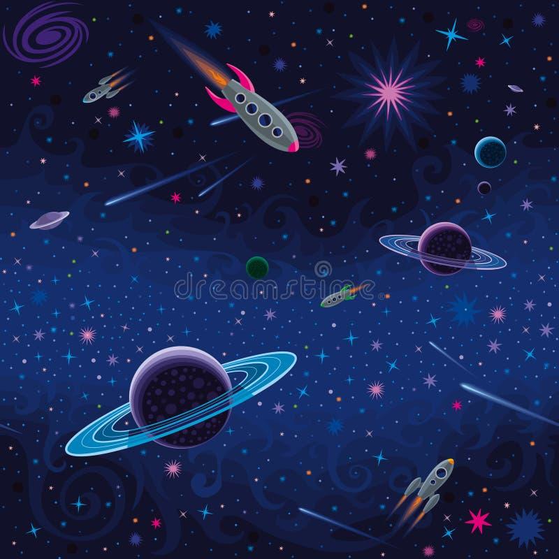 Космическая безшовная картина иллюстрация вектора