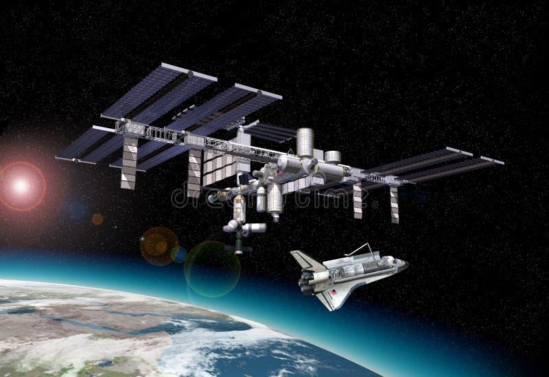 Космическая станция в орбите вокруг земли, с челноком. иллюстрация вектора