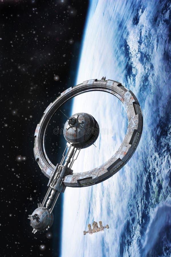 Космическая станция и планета иллюстрация вектора