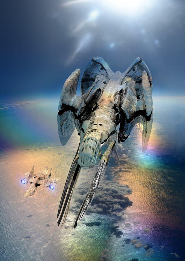 Космические корабли и земля иллюстрация штока