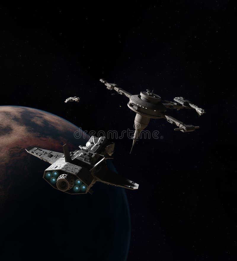 Космические корабли причаливая космической станции над планетой чужеземца иллюстрация штока