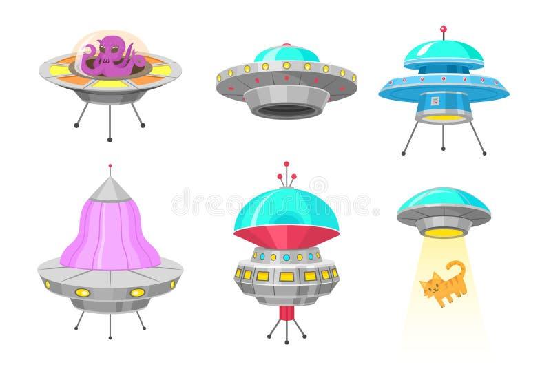 Космические корабли чужеземца, установили неопознанного летающего объекта UFO, фантастических ракет, космических кораблей в космо иллюстрация штока