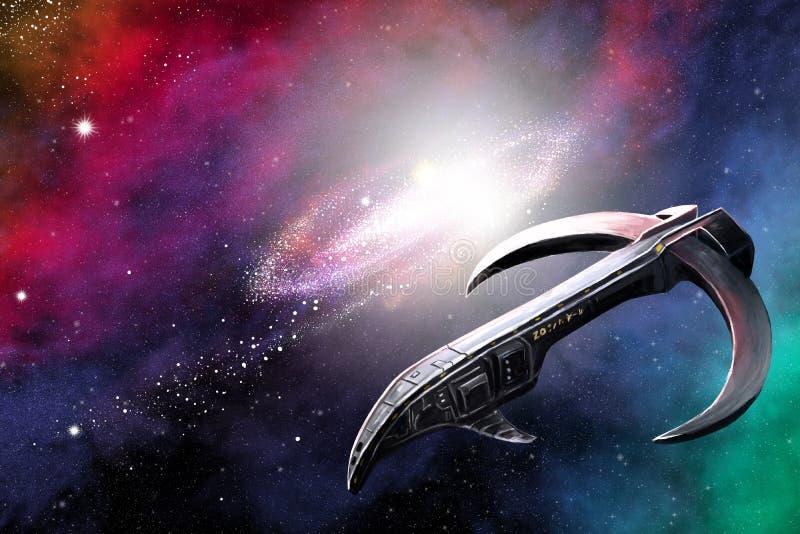 Космический корабль в дистантном космосе иллюстрация вектора