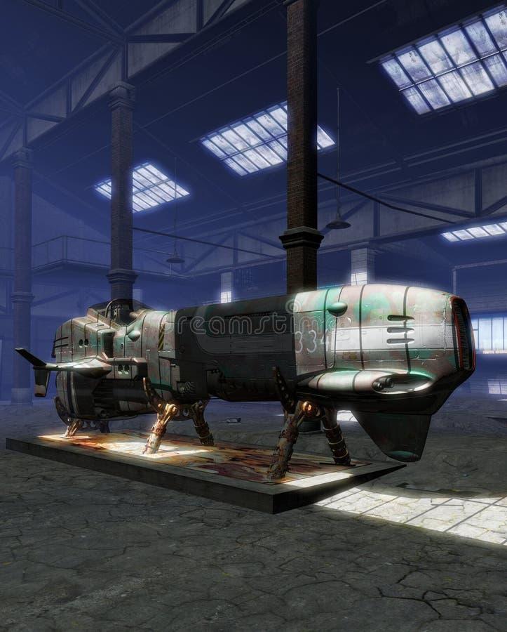 космический корабль забытый самолет-истребителем иллюстрация вектора
