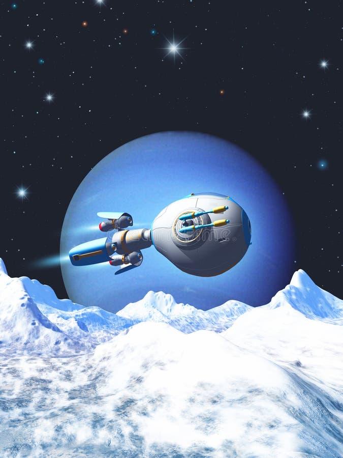 Космический корабль исследуя планету чужеземца с горами, льдом и снегом, иллюстрацией 3d иллюстрация вектора