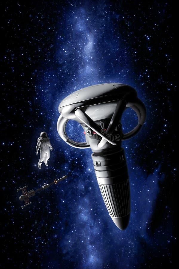 Космический корабль и астронавт с объектом чужеземца иллюстрация штока