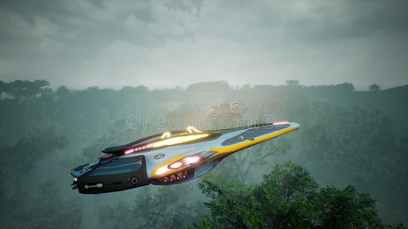 Космический корабль летая над неизвестной зеленой планетой Футуристическая концепция UFO перевод 3d стоковые фото