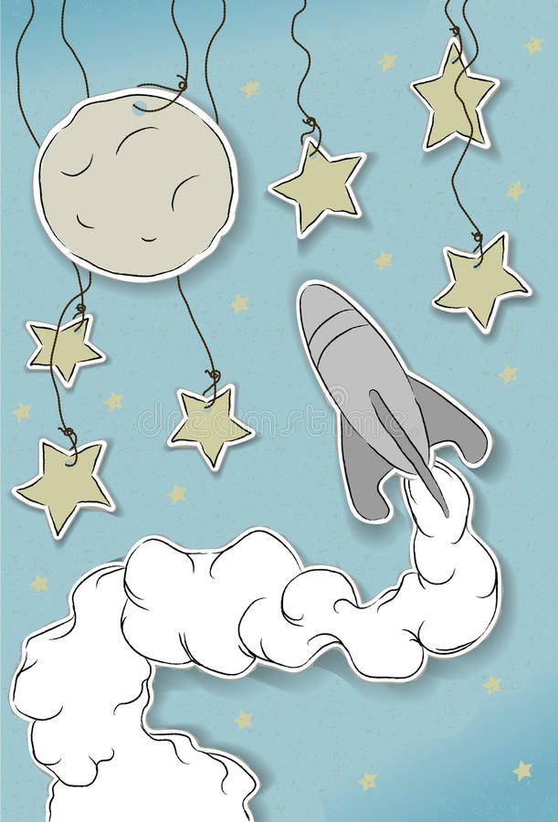 космический корабль луны выреза играет главные роли тип иллюстрация штока