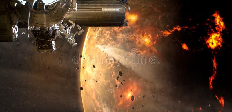 Космический корабль приезжает в астероид планеты чужеземца стоковые фотографии rf