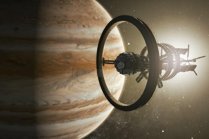 Космический корабль aproaching Юпитер иллюстрация вектора