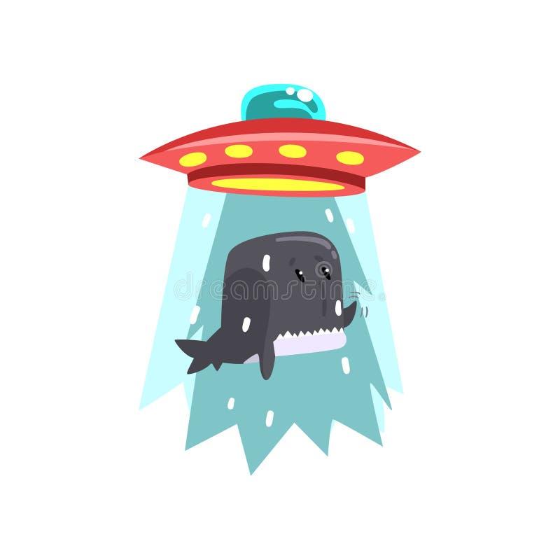 Космический корабль UFO чужеземца принимая прочь кита, летающей тарелки принимая морское животное используя иллюстрацию вектора с иллюстрация штока