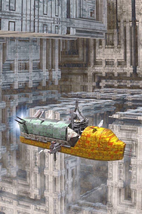 Космический корабль и большой ландшафт города бесплатная иллюстрация