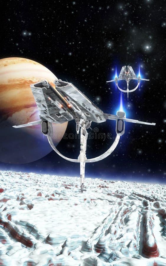 Космический корабль и замороженная луна иллюстрация вектора