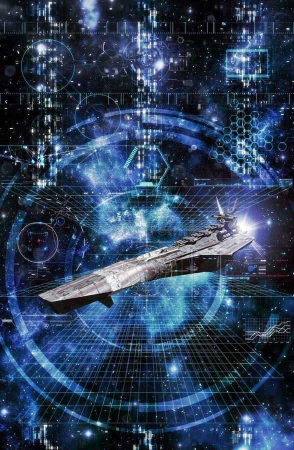 Космический корабль и интерфейс боя бесплатная иллюстрация