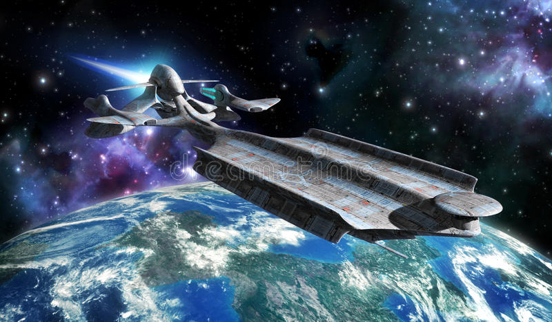 Космический корабль и планета иллюстрация вектора