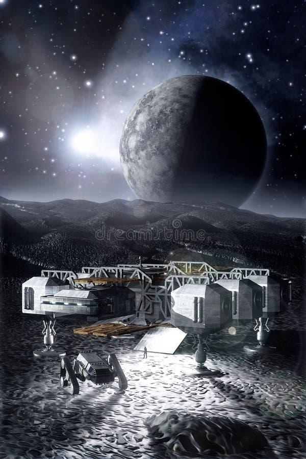 Космический корабль на неурожайной планете иллюстрация вектора