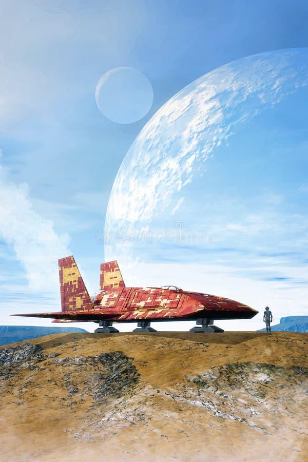Космический корабль на планете и лунах иллюстрация штока
