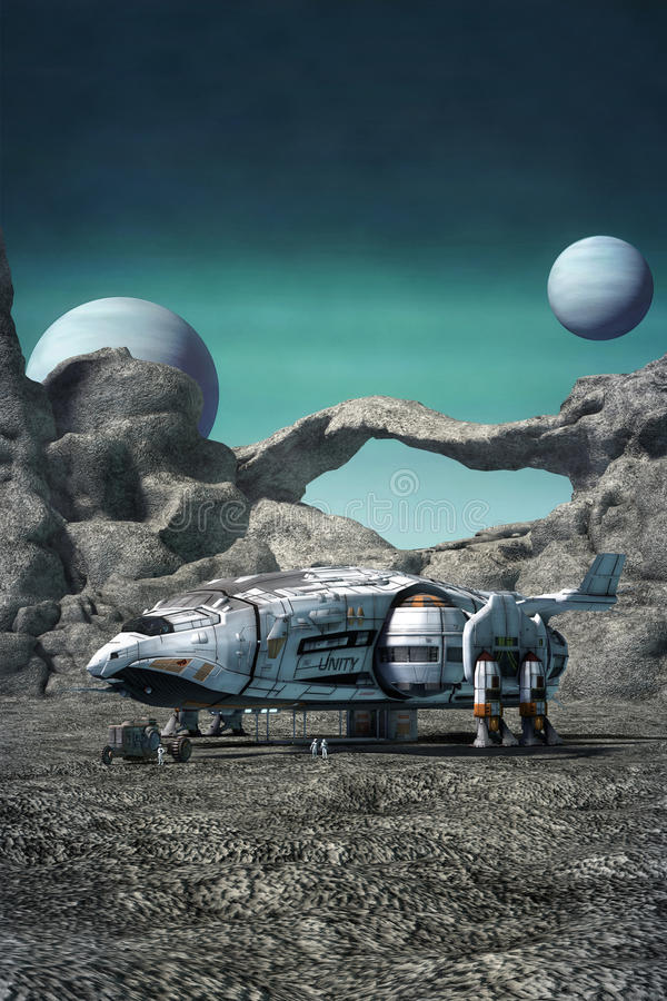 Космический корабль на планете чужеземца иллюстрация штока