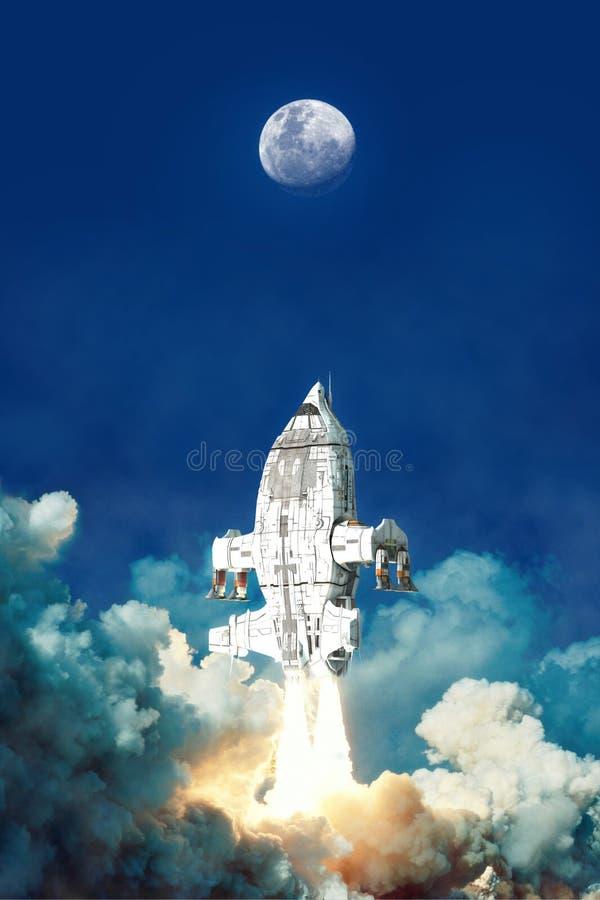 Космический корабль принимает и лунатирует бесплатная иллюстрация