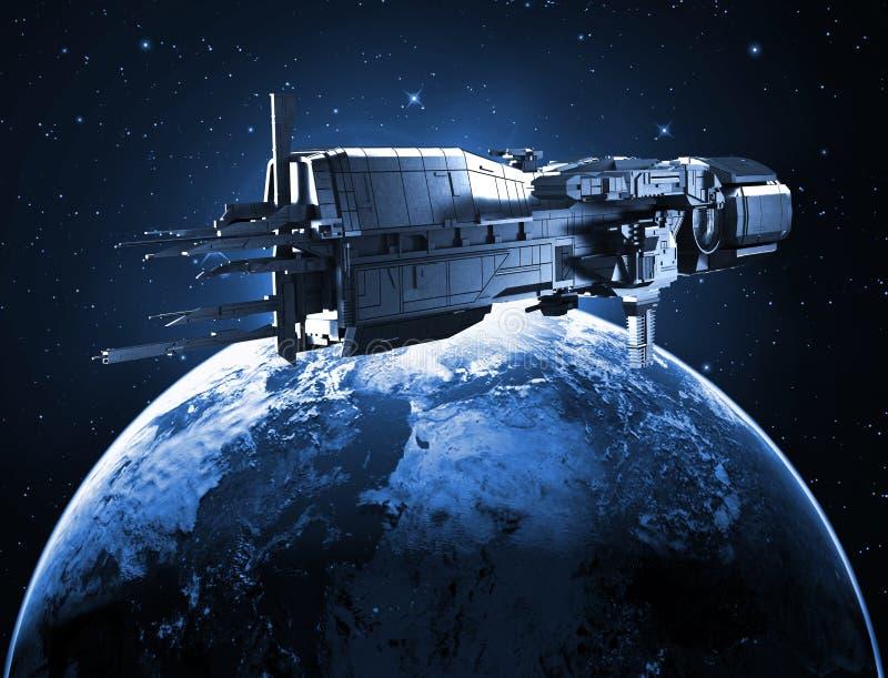 Космический корабль с землей планеты иллюстрация штока