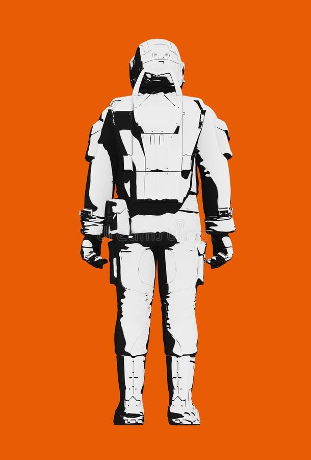 Космический костюм астронавта для работы вне космического корабля, вида сзади иллюстрация вектора