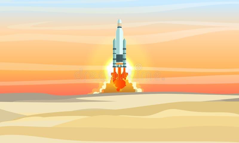 Космический летательный аппарат многоразового использования принимает над пустыней Старт ракеты космоса Место захоронения отходов иллюстрация вектора
