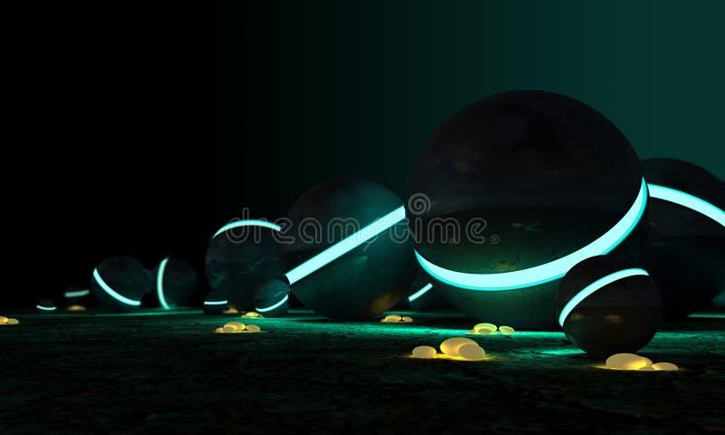 космический накаляя желтый цвет камней сфер иллюстрация штока