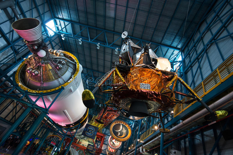 Космический центр NASA Кеннеди космического корабля лунной капсулы луны стоковое изображение rf