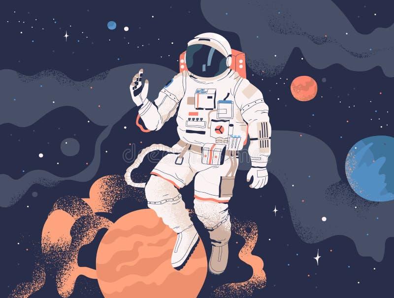 Космическое пространство астронавта исследуя Космонавт в костюме пилота выполняя работу вне космического корабля или выход в откр иллюстрация штока