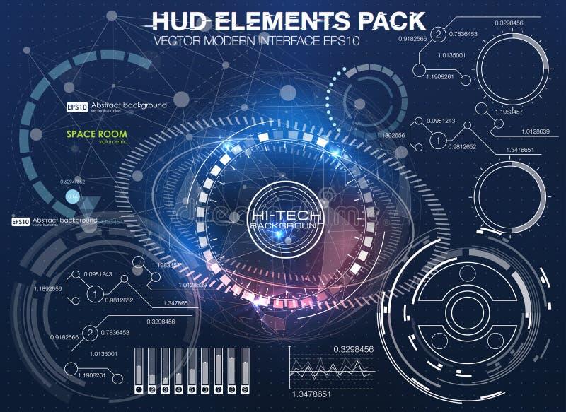Космическое пространство предпосылки Hud элементы infographic Футуристический пользовательский интерфейс Предпосылка науки вектор иллюстрация вектора
