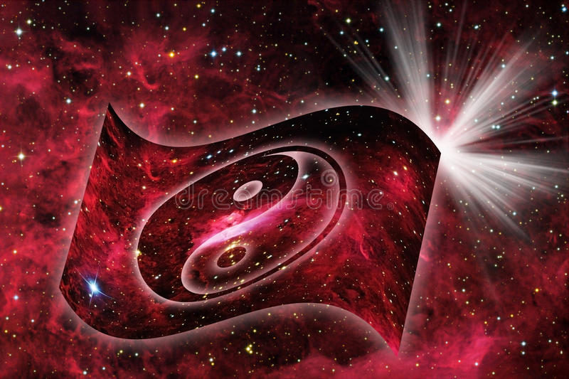 космическое yin yang иллюстрация вектора