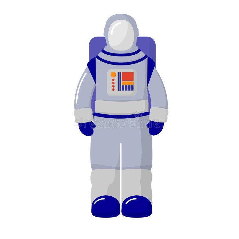 Космонавт в костюме белизна изолированная предпосылкой Тема космоса astrix иллюстрация штока
