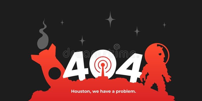 Космонавт и его ракета на астероиде шаблон страницы 404 ошибок иллюстрация штока