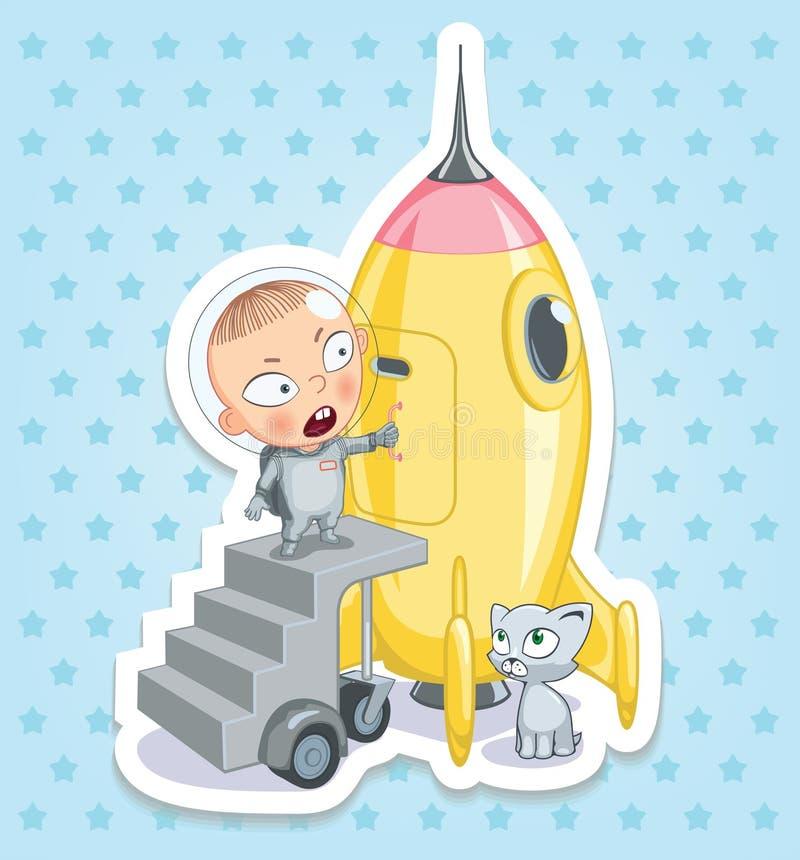 Космонавт младенца Счастливое детство детей Смешные стикеры стоковое фото