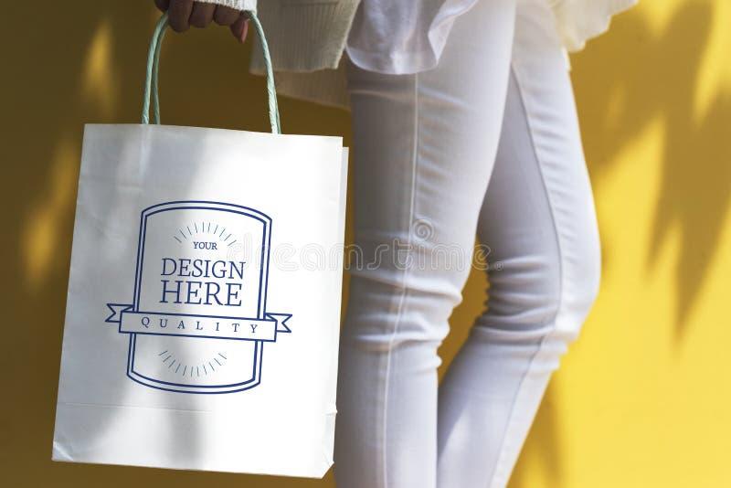 Космос дизайна модель-макета на хозяйственной сумке стоковое изображение rf